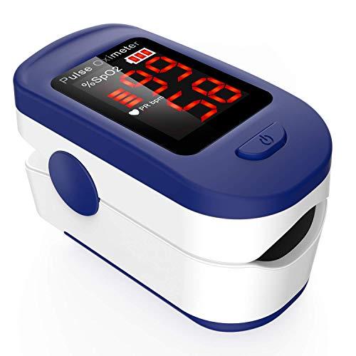 AGPTEK Saturimetro da dito Professionale Portatile Ossimetro con Display OLED Pulsossimetro da Dito per Frequenza Del Polso e La Saturazione di Ossigeno SpO2,Blu Oximeter