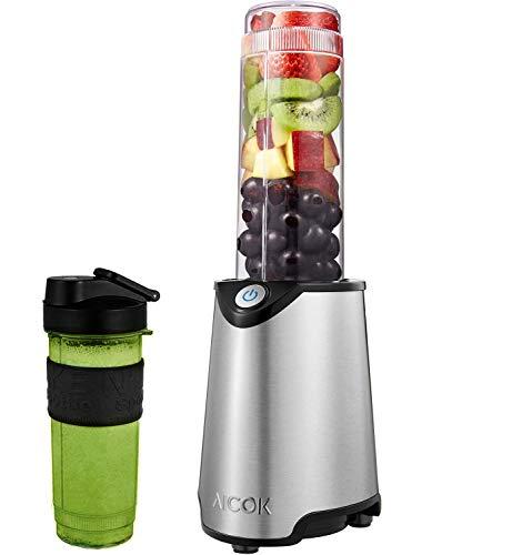 AICOK Frullatore portatile 2 in 1 per frutta e verdura, inclusa una bottiglia Tritan BPA FREE da 600mL, 4 Lama e Corpo in Acciaio Inox, Senza BPA, 23000 giri/min, 300W