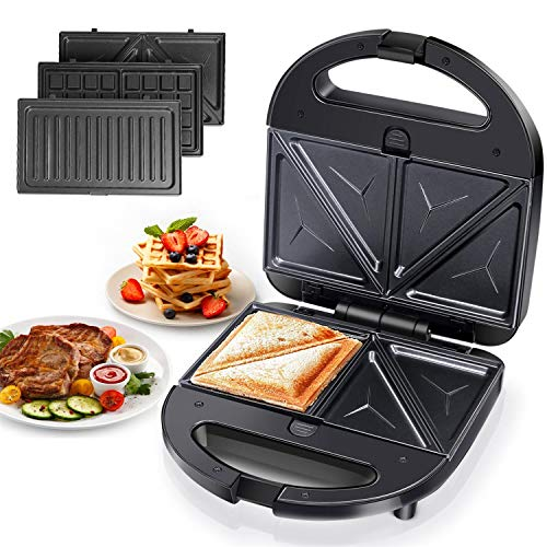 Aigostar Robin - piastre per panini 3 in 1, sandwich e waffle. 750 Watt, piastre antiaderenti rimovibili di facile pulizia, controllo automatico della temperatura, impugnatura Cool Touch, colore nero