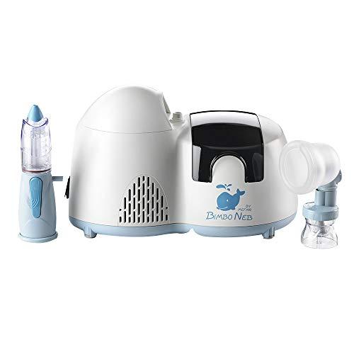 Air Liquide Healthcare BIMBONEB - Sistema per Aerosolterapia per Bambini - Aerosol Silenzioso, Rinowash Doccia Nasale e Perfecta, con Nebulizzatore Prima Infanzia, 5 Anni di Garanzia, Made in Italy