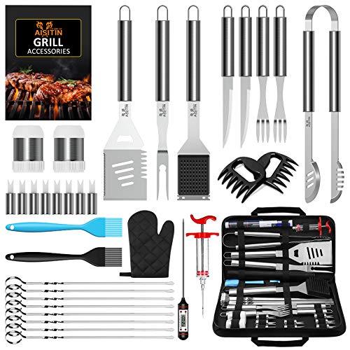 AISITIN Set Barbecue 35 Pezzi Accessori Barbecue Kit BBQ Acciaio Inossidabile Strumenti per Uomo e Donna Feste All'aperto Professionale Attrezzi Barbecue
