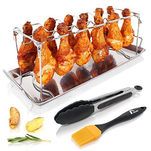 Amazy Supporto per cosce di pollo incl. vassoio anti-sgocciolamento + spazzola BBQ + Pinza + Pennello – Griglia arrosto alette e coscette di pollo in acciaio INOX per forno e barbecue