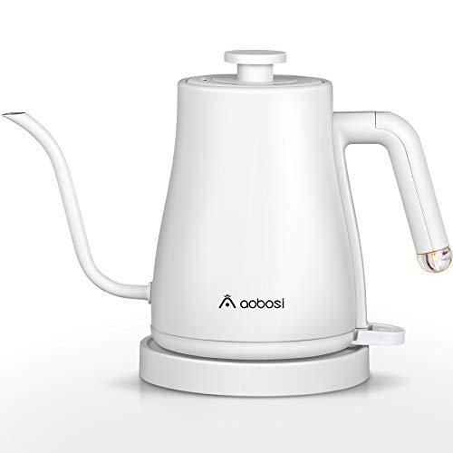 Aobosi bollitore elettrico a collo di cigno , bollitore per caffè versato 3-IN-1 con coperchio interno e fondo in acciaio inossidabile, riscaldamento rapido da 1000 W, 1 litro,protezione secca,bianca