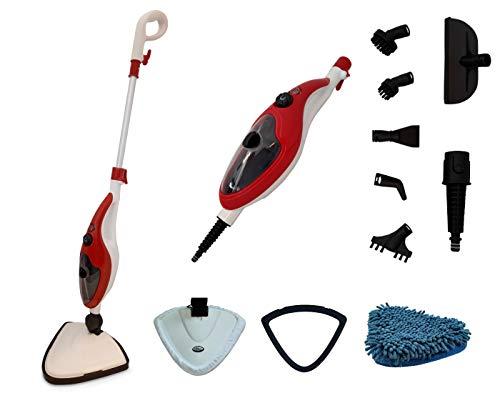 Aqua Laser Brilliant - Pulitore a vapore per pavimenti per pulire e disinfettare senza detergenti, set da 13 accessori