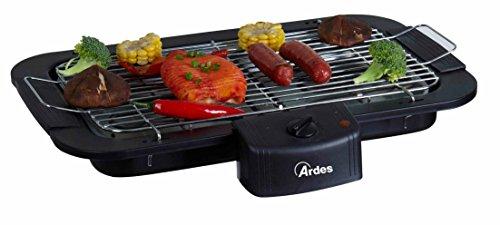 Ardes AR1B02 Barbecue Elettrico Portatile Griglia in Acciaio Cromato Removibile, Cottura Senza Fumo, 2000 W, 0 Decibel, Nero
