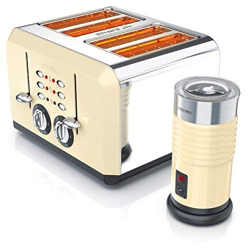 Arendo 722303568772 Arendo, montalatte a 4 fette in schiuma di latte fredda e calda, tostapane a 4 fessure in acciaio inox con grado di doratura 1-6, acciaio inox
