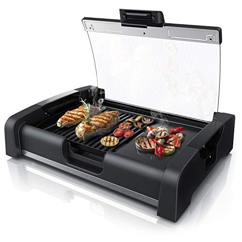 Arendo - Griglia da tavolo 45cm - 1650 W - con coperchio in vetro - Barbecue per interno e esterno - Grill con Rivestimento antiaderente - 5 Livelli della temperatura - Certificato GS