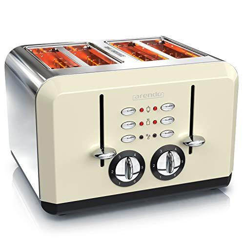 arendo - Tostapane Automatico a 4 fette - Acciaio Inox - Fino a 4 Toast farciti - 6 Livelli di doratura- Funzione Riscaldamento e Scongelamento - Vassoio briciole - Crema