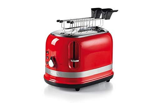 Ariete 149 Rosso Tostapane 2 fette Moderna con pinze, Espulsione Automatica, Cassetto raccogli briciole, Funzione scongelamento e Riscaldamento, 6 Livelli di doratura, 800 W, Plastica