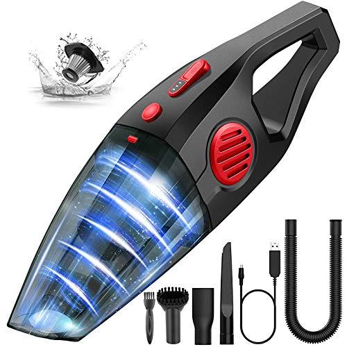 Aspirabriciole Senza Fili Potente 9000 PA,potente, senza fili, per auto, cucina, peli di animali, ricaricabile tramite USB (rosso)