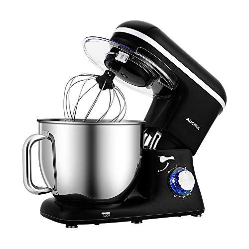 Aucma - Mixer da 7 l a 6 velocità Tilt-Head Food Mixer elettrico da cucina con gancio per porta, Wire Whip & Beater