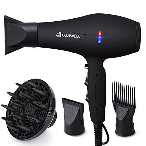 Basuwell Salon Asciugacapelli Professionale 2100W per Capelli con Tecnologia a Ioni,Basso Rumore 2 Velocità e 3 Temperature per un'Asciugatura Rapida e Styling a Lunga Durata