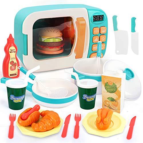BeebeeRun Microonde Giocattolo per Bambini,Cucina Giocattoli Playset Cucina,Cucina Giocattolo Set Cucina Giochi d'imitazione per Bambini,Accessori da Cucina Giocattolo con Suoni e luci Regalo