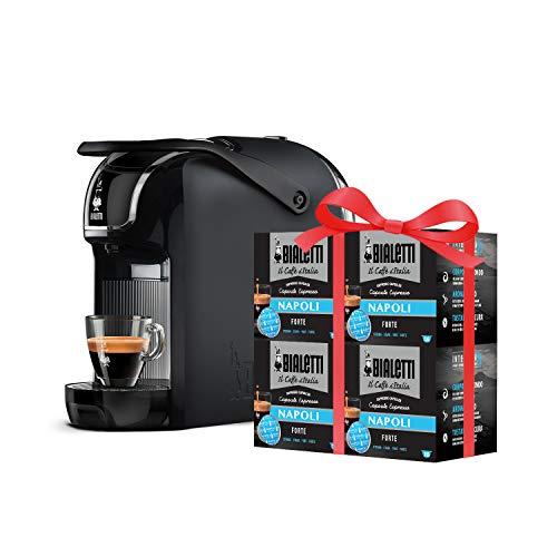 Bialetti Break Automatica - Macchina Caffè Espresso a Capsule in Alluminio con sistema Bialetti il Caffè d'Italia, Design compatto, Nero + 64 Capsule Omaggio