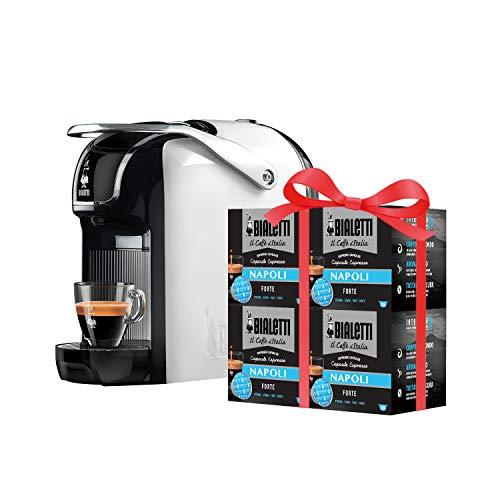Bialetti Break - Macchina Caffè Espresso a Capsule in Alluminio con Sistema Bialetti il Caffè d'Italia, Design compatto, Bianco, Include 64 Capsule In Omaggio