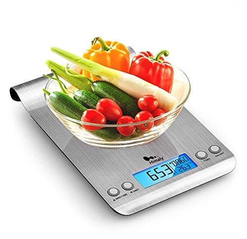 Bilancia da Cucina, 5Kg/1g Bilancia Elettronica Digitale Alta Precisione Misurazione Display LCD Multifunzione da Cucina e Acciaio Inossidabile Usato Come Sveglia (2 Batterie Incluse) (stile 1)