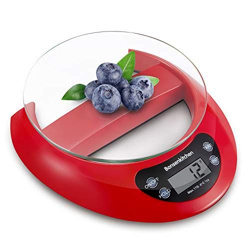 Bilancia da cucina digitale multifunzione Bonsenkitchen per cucina e cottura con vassoio di vetro con funzione e rimozione tara, 5kg da 11 lb, sistema di sensori ad alta precisione, rosso (KS8802)