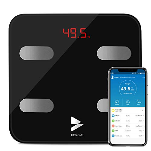 Bilancia Grasso Corporeo Bluetooth, Yuanguo Hosome Smart Digitale Corpo Composizione Bilancia Pesapersone per BMI, BFR, Muscolo, Analizzatore di massa ossea, Compatibile con APP iOS e Android