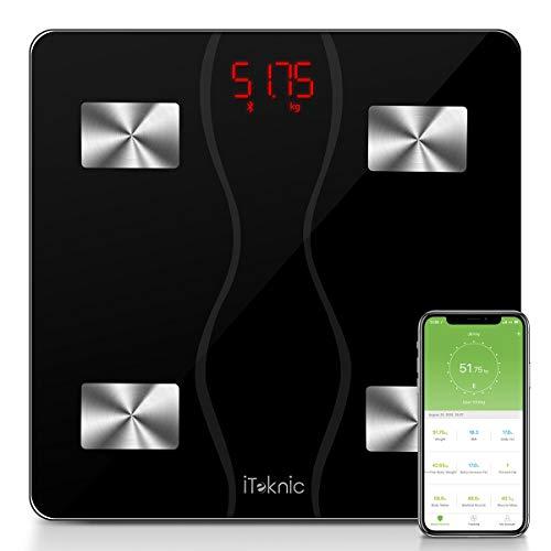 Bilancia Impedenziometrica iTeknic Bilancia Pesa Persona Digitale Massa Grassa Bluetooth Misura Precisa di Peso, Massa Magra, Massa Muscolare, BMI, Massa Ossea per Dispositivi iOS e Android
