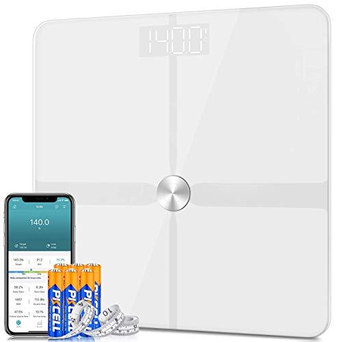 Bilancia Pesa Persona Digitale Bilancia Pesapersone Impedenziometrica 1byone ITO con 14 Dati di Misurazione del Corpo Peso/Massa Grassa/BMI/BMR, Lavorare con Apple Health, Google Fit,180kg