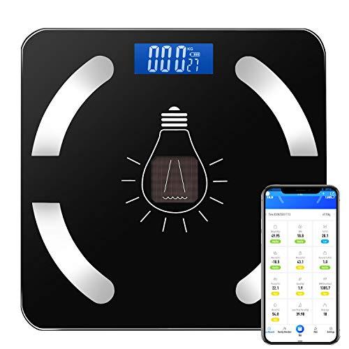 Bilancia Pesa Persona Digitale Elettronica - Cobiz Bilancia Pesapersone Bluetooth Ricaricabile Con Batteria al Litio e Solare Bilancia Pesapersone Applicazione Ios e Android, 180kg