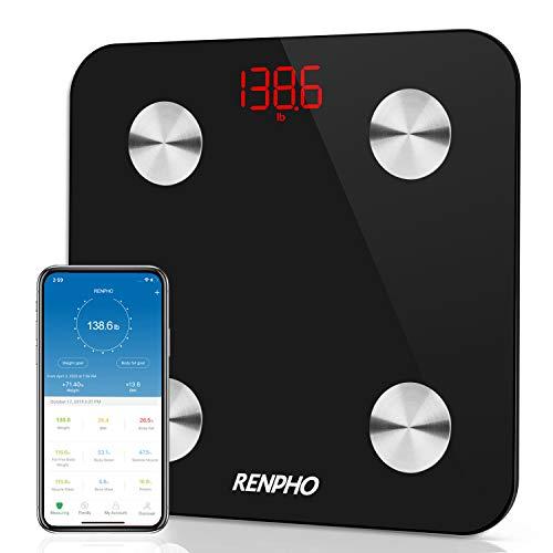 Bilancia Pesa Persona Digitale, RENPHO Bilancia Pesapersone Impedenziometrica Elettronica Bluetooth con APP, 13 Indici di Misuratori Composizione e Grasso Corporeo Peso BMI BMR