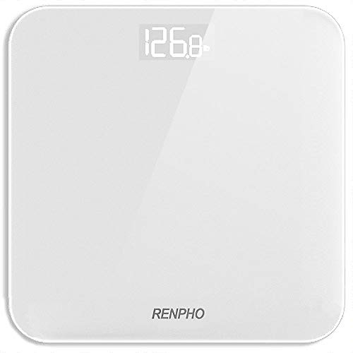 Bilancia Pesa Persone RENPHO, Bilancia Pesapersone Digitale Alta Precisione con Lettura Grande LED Display, Tecnologia Step-On, Capacità 180kg/400lb, Bianco
