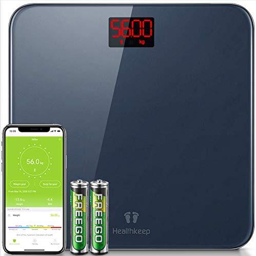Bilancia Pesapersone BilanciadiPrecisione con BMI Pesa Persona Bilancia Pesapersone Digitale Bluetooth con App per IOS e Android Smartphone, Robusto Vetro Temperato, LED Display, 180kg, Grigio