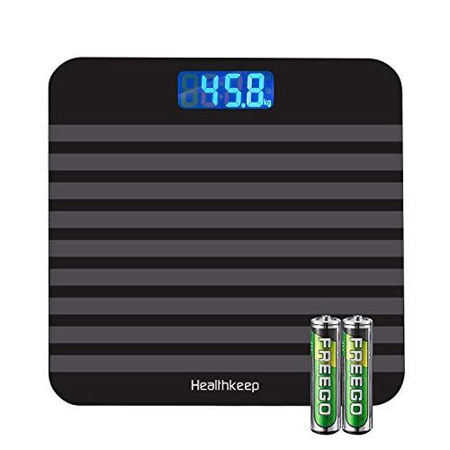 Bilancia Pesapersone Digitale Alta Precisione con Tecnologia Step-on,Bilancia Pesa Persona Digitale con Grande display a LCD, 5 kg-180 kg,argento elegante