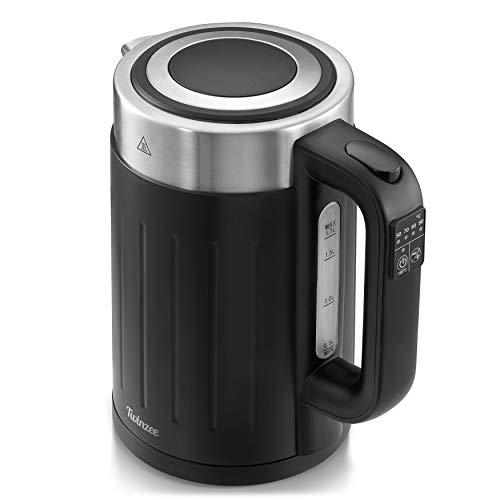 Bollitore Elettrico 2200W - Regolabile 50-100°C - Bollitore Acqua Twinzee 1,7L - Senza BPA - Spegnimento Automatico - Bollitore Latte Inox e Nero - Indicatore del Livello d'Acqua