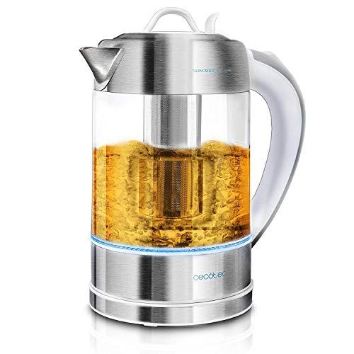 Bollitore elettrico Cecotec ThermoSense - 1,7 litri, vetro borosilicato, senza BPA, base 360 ª, filtro anticalcare, sistema di sicurezza dppeltes, potenza 2200 W. (1,7 litri, 2 in 1)