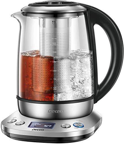 Bollitore Elettrico Decen Bollitore Elettrico in vetro con Temperatura Regolabile, 1.7L Teiera Elettrico con Filtro da Tè in Acciaio Inox, Mantenere Caldo 120 Minuti, Arresto Automatico, BPA Free