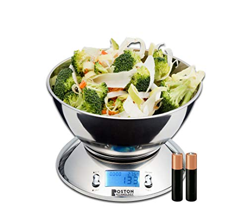Boston Tech HK101 - Bilancia da Cucina Elettronica in Acciaio Inossidabile con Ciotola Rimovibile, Funzione Tare, Timer Allarme, Indicatore Temperatura, Display LCD capacità 5Kg