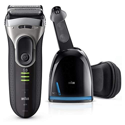 Braun Series 3 Proskin 3090cc Rasoio Elettrico da Barba per Uomo, Ricaricabile con Sistema Clean & Charge, Premium Argento