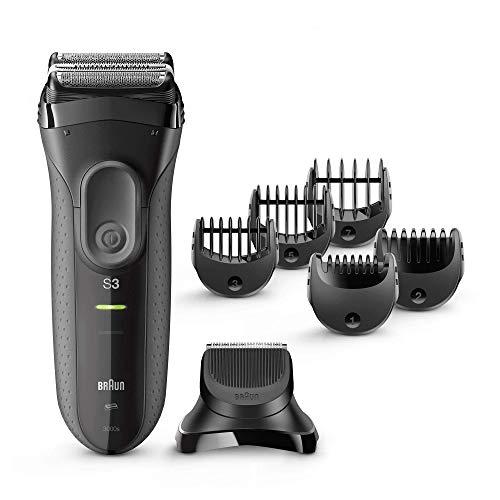 Braun Series 3 Proskin Shave & Style 3000BT 3-In-1 Rasoio Elettrico Uomo con Regolabarba di Precisione e 5 Pettini, Ricaricabile e Senza Fili, Nero/Grigio