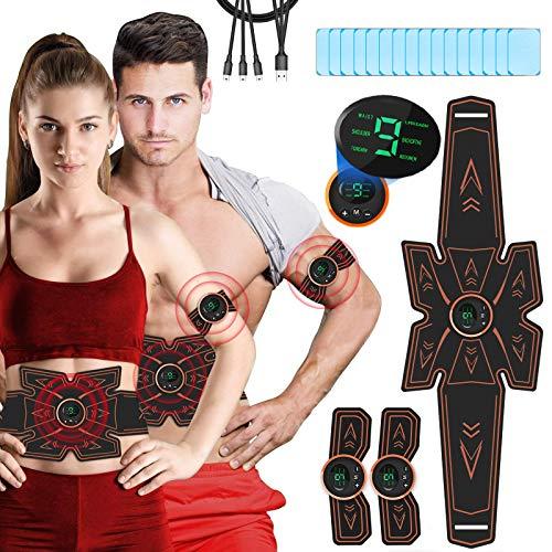 Breett Elettrostimolatore per Addominali Elettrostimolatore Muscolare, Cintura Stimolatore Addominali Ricaricabile, per Uomo e Donna Addome Braccio Vita Gambe, 16PCS Gel Pezzi