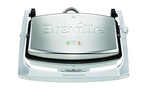Breville Tostiera con Rivestimento DuraCeramic 1000 W, Piastre Lisce, Argento