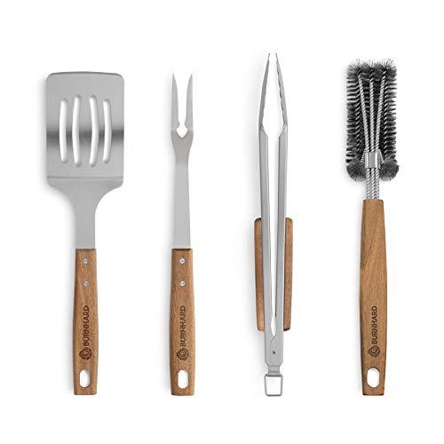 BURNHARD Set di Utensili per Barbecue in Acciaio Inox e Legno di Acacia, Accessori per Grigliare - 4 Pezzi