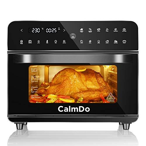 CalmDo Friggitrice ad Aria 25L, Forno ad Aria Calda 12 Programmi con Touch Screen, 1800W Friggitrice Senza Olio Air Fryer Temperatura Protezione Surriscaldamento con 5 Accessori e Ricettario
