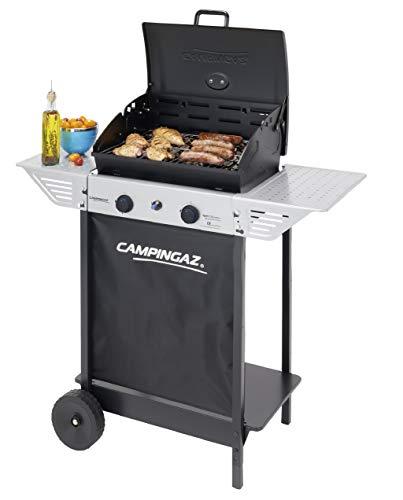 Campingaz BBQ a Roccia Lavica Xpert 100 L Plus Rocky, Barbecue Grill Compatto a 2 Bruciatori, 7.1kW di Potenza, 2 Griglie Cromate, 2 Ripiani Laterali e un Carrello con Ruote