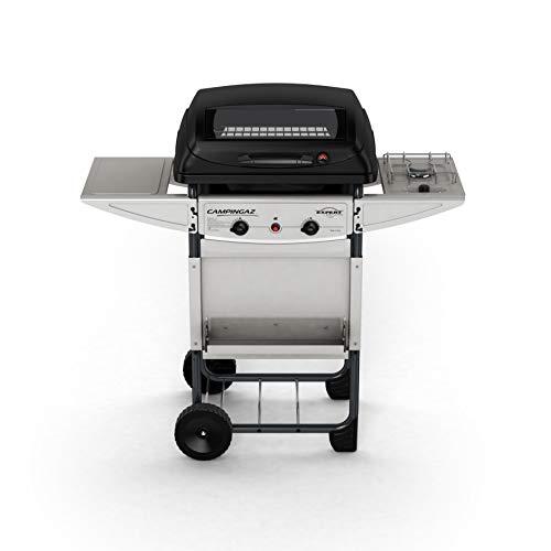 Campingaz Expert Deluxe Pietre Laviche, Grill Barbecue Compatto a Gas con 2 Bruciatori, Potenza 7 kW, Cavo in Acciaio Cromato, 2 Ripiani Laterali