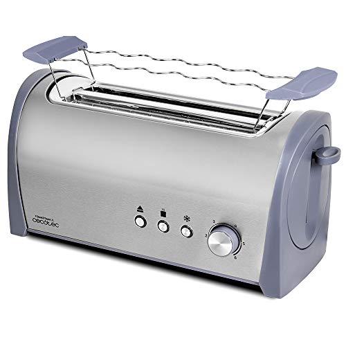 Cecotec Tostapane in acciaio Steel&Toast – 6 livelli di potenza, 3 funzioni, (Tostare, Recalentare, Scongelare), con supporto panini e vassoio raccogli briciole 2L 40 x 19.9 x 18.3 cm