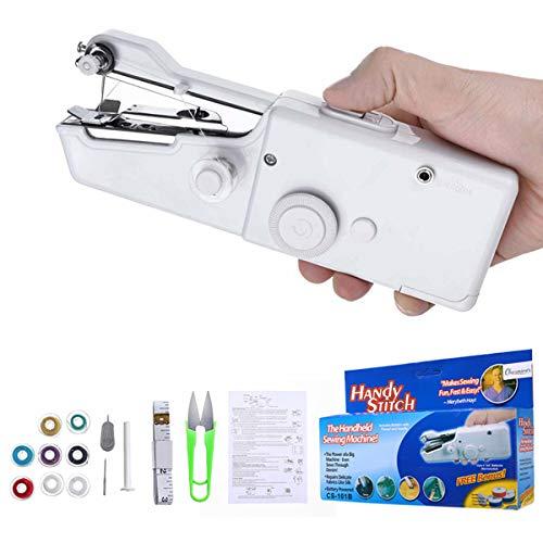 Charminer Mini macchina da cucire a mano, macchina da cucire elettrica portatile, veloce e maneggevole, adatta per vestiti, tende in tessuto, fai da te, casa e viaggio (bianco)