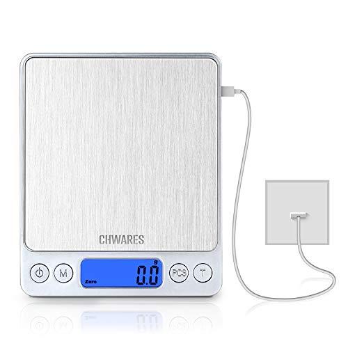 CHWARES Bilancia Cucina Digitale con Carica USB,Bilance per Alimentari Elettronica ad Alta Precisione 3kg-0.1g,Multifunzione Peso Cucina con,mini bilancia per alimenti,bilancia digitale impermeabile