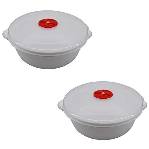 Ciotola Cocotte per Microonde con valvola. Idonea per Lavastoviglie e Congelatore. 2 litri Diametro 22cm 2 Pezzi