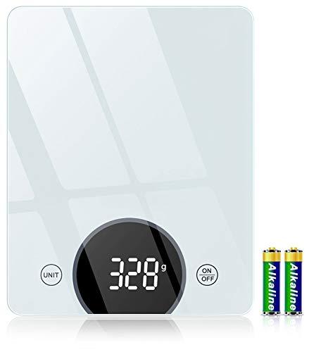 Cocoda Bilancia da Cucina, Bilancia Cucina Digitale da 10kg, con Precisione di 1g/0,05oz e Funzione Tare, Display a LED e Vetro Temperato, 4 unità Bilance in g e oz per Cucina (2 Batterie Incluse)