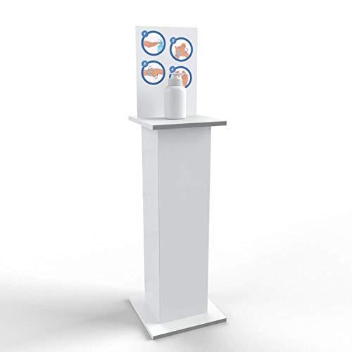 Colonnina con ripiano porta dispenser per gel igienizzante mani totem piantana porta disinfettante 38x96 cm (Bianco)