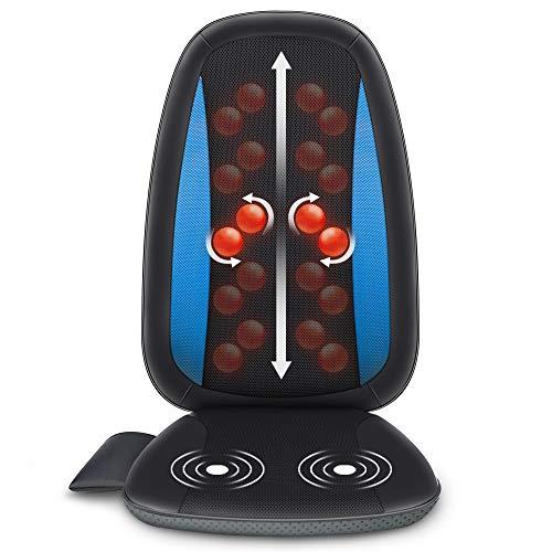 Comfier Shiatsu Massaggiatore Schiena con Calore - Cuscino Sedile Massaggiante con Impastamento Tessuto Profondi, Massaggiatore Elettrico per corpo a Casa o da Ufficio