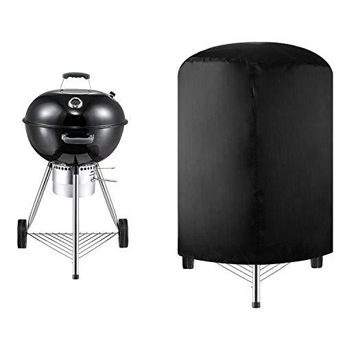 Copertura Barbecue Rotondo Copertura BBQ Impermeabile Resistente alla Polvere Agli UV Tessuto Oxford Grill Anti Pioggia All'aperto Pulizia Facile Grill Cover per Grill Sferico, Nero (75*70cm)