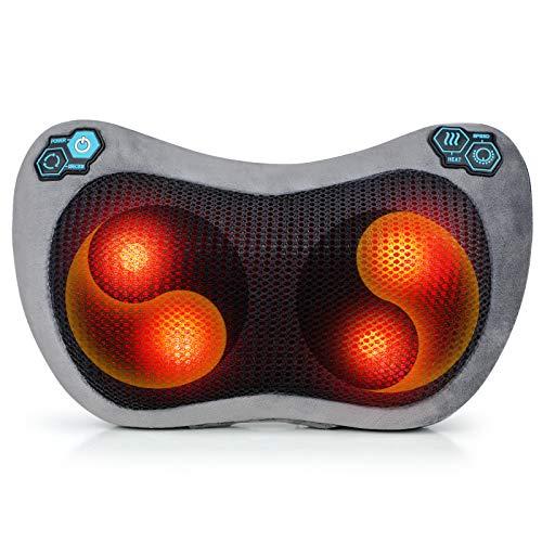 Cuscino Massaggiante, Massaggiatore Cervicale Schiena per Dolori Muscolari alla Spalla e al Collo, Funzione di Calore a infrarossi con teste di Massaggio Rotanti 3D per l'ufficio Dell'auto a Casa